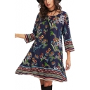 Fashionable Floral Printed Half Sleeve Round Neck Midi A-Line Dress