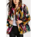 Winter's Trendy Color Block Collarless Long Sleeve Open Front Faux Fur Coat for Women