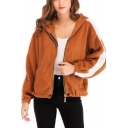 Women Winter Warm Fuzzy Striped Long Sleeve Hooded Zip Up Fleece Coat Camel