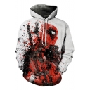 Trendy Classic Comic Figure Print Casual Loose White Drawstring Hoodie
