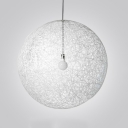 Globe Pendant Light with White Rattan Shade Modern Drop Ceiling Lighting, 10