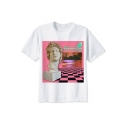 Vaporwave Fashion Sculpture Basic Round Neck Short Sleeve White T-Shirt
