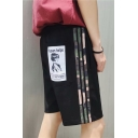 New Stylish Comic Girl Print Back Fashion Stripe Side Guys Casual Relaxed Fit Shorts