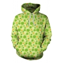 New Stylish 3D Green Leaf Clover Printed Unisex Sport Casual Hoodie