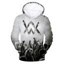 Norwegian DJ 3D Double W Logo Figure Printed Sport Casual Long Sleeve Pullover Grey Drawstring Hoodie