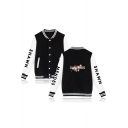 Color Block Floral Letter Printed Long Sleeve Rib Trim Single Breasted Stand Collar Baseball Jacket