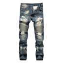 Guys Fashion Retro Light Blue Ruched Pleated Detail Regular Fit Ripped Biker Jeans