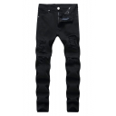 Mens Black Fashion Distressed Ripped Slim Fit Jeans