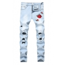 Men's Fashion Rose Floral Embroidery Cut Up Slim Fit Ripped Jeans with Holes