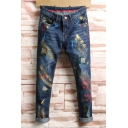 Cool Colorful Patchwork Rolled Cuff Mens Dark Blue Straight Jeans
