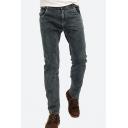 Mens Summer Fashion Stretch Regular Fit Smoky Grey Jeans