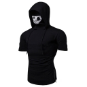 Men's New Stylish Zip Side Plain Short Sleeve Fitness Skull Mask Hooded T-Shirt