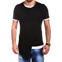 Guys Streetwear Fashion Patchwork Hip Hop Extended Longline T-Shirt
