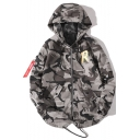 Men's Casual Letter Camouflage Print Long Sleeve Fishtail Hem Zip Closure Hooded Jacket