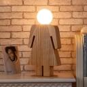 Single Light Bare Bulb Table Lamp with Boy/Girl Wooden Base Children Room Standing Desk Light