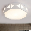 White Polygon LED Lighting Fixture with Acrylic Shade Simple Modern Flush Light Fixture for Study Room