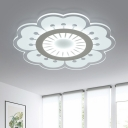 Modernism Floral LED Flush Light with Acrylic Lampshade Girls Bedroom Eye Protection Ceiling Lamp in White