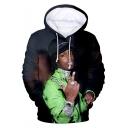 American Rapper Cool 3D Figure Print Casual Loose Pullover Hoodie