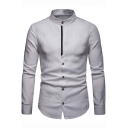 Men's New Fashion Stand-Collar Basic Simple Plain Long Sleeve Slim Fitted Linen Shirt