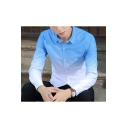 Summer Guys Fashion Ombre Color Long Sleeve Slim Button-Front Shirt