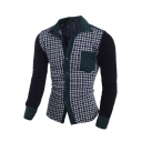 Stylish Plaid Print Colorblock Patchwork Chest Pocket Slim Fit Button-Up Green Shirt for Men