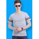 Basic Striped Short Sleeve Round Neck Cotton Casual T-Shirt for Men