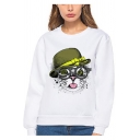 Lovely Cool Cartoon Cat Printed Long Sleeve Crewneck White Pullover Sweatshirt