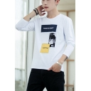 Trendy Letter PIONEER CAMP Basic Long Sleeve Loose Casual Graphic Tee for Teenagers