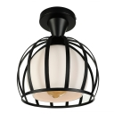 Vintage Globe Semi-Flush Ceiling Light with Metal Frame for Hallway Kitchen Foyer in Black/White