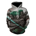 Cool 3D Comic Figure Pattern Long Sleeve Pullover Sport Casual Grey Hoodie