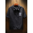 Simple Letter R Logo Chest Short Sleeve Mens Casual Loose Summer Polo Shirt