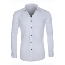 Mens Fashion Basic Simple Plain Spread Collar Long Sleeve Button-Up Wash and Wear Slim Shirt