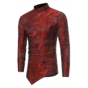 Fashion Dark Grain Printed Stand-Collar Cool Irregular Button Slant Cut Bottom Slim Shirt for Men