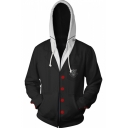 Persona Trendy Comic Cosplay Costume Long Sleeve Sport Casual Zip Up Black Hoodie