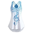 Unique Musical Note Printed Crisscross Back Blue Longline Tank Top for Women