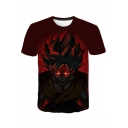 Comic Character Print Short Sleeve Red T-Shirt