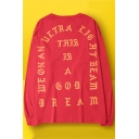 Kanye I Feel Like Pablo Cool Letter Round Neck Long Sleeve Casual Red Sweatshirt