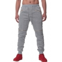 Mens New Stylish Multi-Zip Embellished Drawstring Waist Plain Casual Joggers Sweatpants