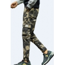 Men's Fashion Camouflage Printed Drawstring Waist Cotton Casual Cargo Pants