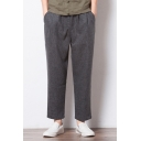 Men's Casual Warm Loose Fit Linen Ankle-Length Carrot-Fit Pants