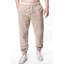 Men's Drawstring-Waist Basic Plain Washed Cotton Elasticized Cuff Casual Lounge Pants