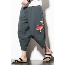 Summer Chinese Style Fish Printed Drawstring-Waist Casual Loose Beach Cropped Bloomers Harem Pants for Men