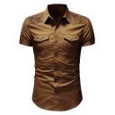 New Stylish Pleated Shoulder Short Sleeve Basic Plain Slim Fit Button-Up Work Shirt for Men