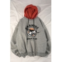 Funny Letter WARNING Dog Print Long Sleeve Loose Casual Pullover Drawstring Hoodie