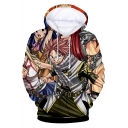 Stylish 3D Comic Character Printed Long Sleeve Sport Casual Hoodie