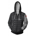Cool 3D Printed Cosplay Costume Long Sleeve Zip Up Black Drawstring Hoodie
