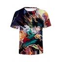 Comic 3D Character Print Round Neck Short Sleeve Basic T-Shirt