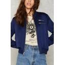 Zipper Embellished Stand Up Collar Long Sleeve Plain Baseball Jacket