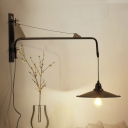 Industrial Suspender Wall Light with Saucer Shade Height Adjustable Metal Wall Sconce in Black