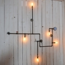 Industrial 59''W Multi Light Wall Sconce with 5 Light and Pipe Fixture Arm in Bar Style